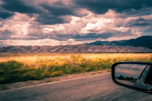 On The Road - view from a car of mountains in the USA
